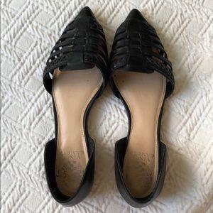 Vince Danya Hadria black leather braided flats